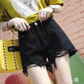黑色牛仔短褲女夏2018新款韓版高腰寬鬆破洞顯瘦學生熱褲潮 zm1765『男人範』