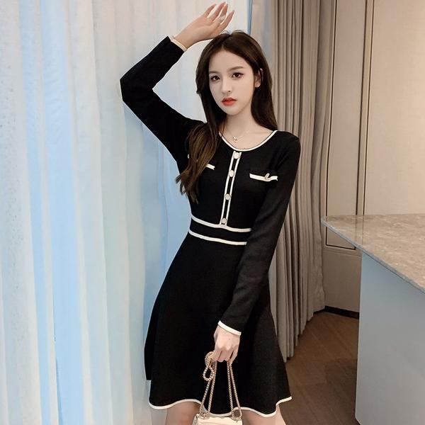 出清388 韓國風優雅圓領黑白拼接氣質毛衣針織長袖洋裝