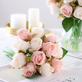 VIKI-仿真花擺件12頭玫瑰手札花束新娘手捧花絹花干花餐桌假花裝飾花藝 nm4199 【VIKI菈菈】