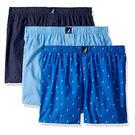 NAUTICA 男棉編織3件裝平角褲(藍色系列)
