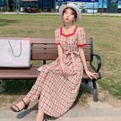 洋裝 小香風復古格子連身裙-媚儷香檳-【D1658】