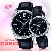CASIO 卡西歐 手錶專賣店 國隆 MTP-V005L-1B+LTP-V005L-1B 指針對錶 皮革錶帶 黑 防水 全新品