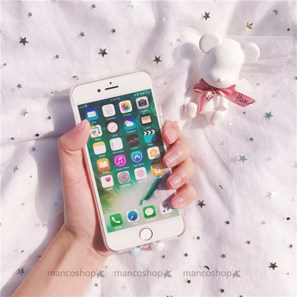 少女可愛風iPhoneXR保護套 XS Max軟殼iPhone6s手機殼 i7Plus軟殼 雲朵可愛液態流沙ix軟殼