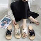 PAPORA圓點設計平底拖鞋涼鞋KK16黑/白(偏小)
