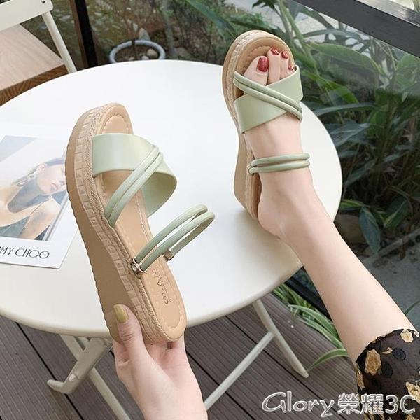 厚底涼鞋一鞋兩穿坡跟涼鞋女2021夏新款百搭厚底高跟防水臺涼拖鞋羅馬鞋女 榮耀