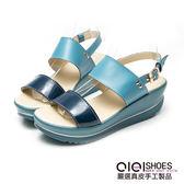涼鞋 異材素面一字寬版真皮厚底涼鞋(藍)  *0101shoes 【18-575b】【現+預】