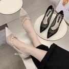 2020年春夏新款黑色蕾絲鏤空性感尖頭單鞋細跟淺口網紗高跟鞋女 LF6436【極致男人】