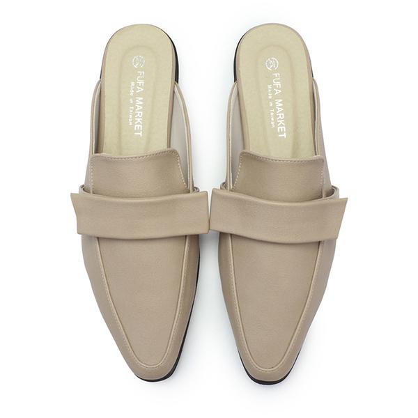 【富發牌】優雅軟皮尖頭低跟穆勒鞋-黑/奶茶  1PD46