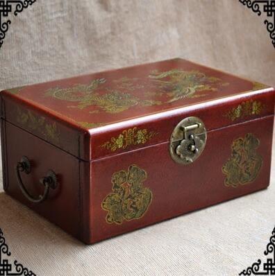 復古懷舊首飾珠寶箱中式明清木質飾品盒百寶箱超大收納盒婚慶攝影