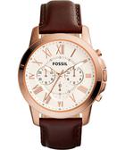 FOSSIL Grant 旗艦三眼計時復刻腕錶/手錶-銀x玫塊金框x咖啡/44mm FS4991IE