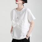 設計感綁帶車褶短袖上衣T恤棉T日系【13-11-81997-21】ibella 艾貝拉
