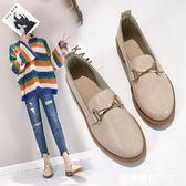 一腳蹬女鞋夏季2019新款單鞋英倫風小皮鞋女韓版百搭夏天中跟鞋子女學生    米希美衣
