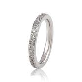 316L醫療鋼滿鑽排鑽 白水晶戒指尾戒-玫瑰金、銀 防抗過敏 不退色