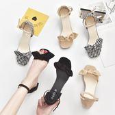 蝴蝶結涼鞋女夏學生中跟新款韓版百搭一字扣高跟鞋粗跟羅馬鞋 依夏嚴選