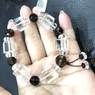『晶鑽水晶』天然水晶~正方形白水晶+茶晶 紫水晶手鍊 ~ 超特殊款式!