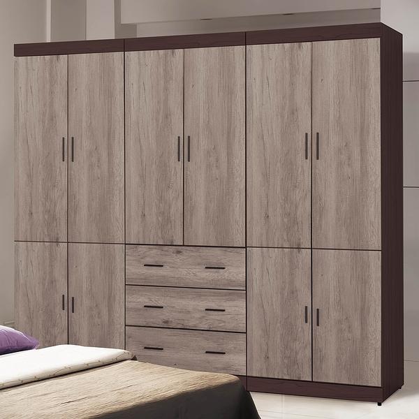 【森可家居】灰森8尺組合衣櫥 8SB014-6 衣櫃