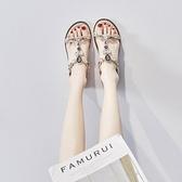 波西米亞涼鞋女2021年夏季新款網紅百搭ins潮仙女風水鑚平底鞋子