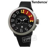 Tendence 天勢表 / TY470401 / 中國紅限量版 三眼計時 日期 礦石強化玻璃 防水100米 矽膠手錶 黑色 51mm