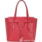 TOD'S New Joy Bag 中款 T釦翻蓋牛皮托特包(紅色) 1840634-54