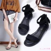 大尺碼涼鞋女2020夏季新款仙女風一字帶平跟百搭學生韓版平底鞋 LF3902【Rose中大尺碼】