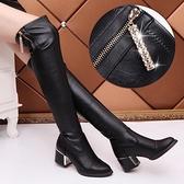 長靴 爆款過膝長靴女馬丁靴2020新款秋冬高筒彈力皮靴高跟瘦瘦長筒靴子 風馳