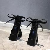 英倫風切爾西短靴女2020新款春秋冬季單靴粗跟網紅百搭瘦瘦馬丁靴