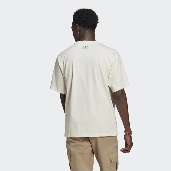 【NEW】adidas Stan Smith 男裝 短袖 休閒 三葉草 鞋子 塗鴉 純棉 米 GQ8872