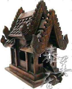 木雕工藝品 擺件 家居裝飾品台式建築A款