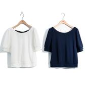 春夏5折[H2O]背後拼接印花布造型上衣 - 藍/白色 #0671009