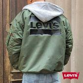 Levis 男款 飛行外套 / 連帽設計 / 背部Logo浮水印 / Logo抽繩