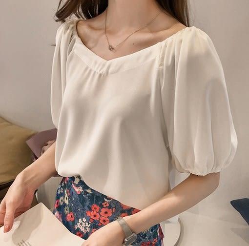 EASON SHOP(GW2610)韓版簡約純色薄款短版袖口縮口燈籠袖短袖V領雪紡衫女上衣服修身顯瘦內搭衫藍色