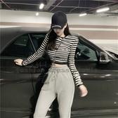 依多多 韓國個性顯瘦墊肩條紋長袖短版T恤