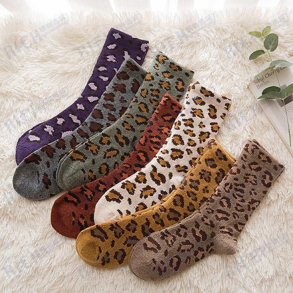 日系豹紋加厚加絨毛圈豹紋中筒襪韓國ins潮個性冬保暖羊毛襪子