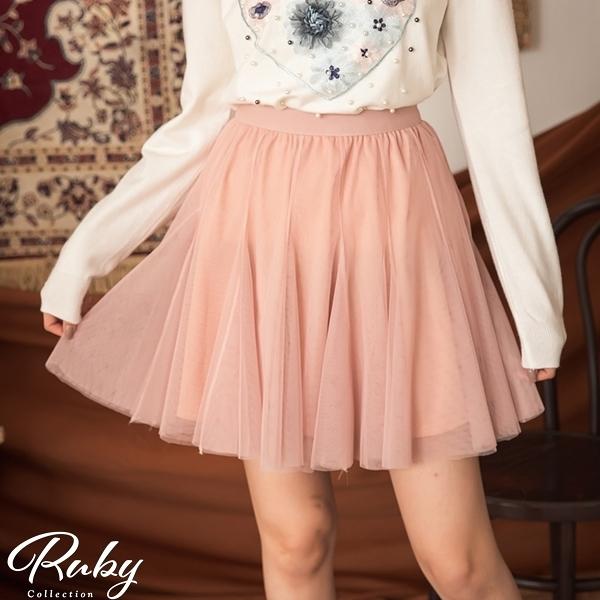 裙子 魚尾網紗鬆緊紗裙短裙-Ruby s 露比午茶