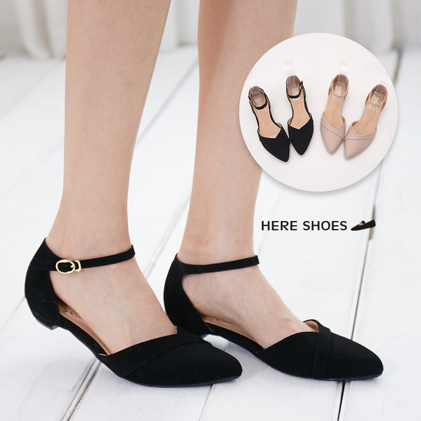 [Here Shoes]涼拖鞋-MIT台灣製復古金屬釦尖頭2.5CM低粗跟瑪莉珍鞋─KTDW218