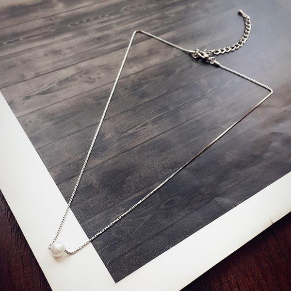 萬聖節狂歡   Taimi Style簡約珍珠吊墜項鍊 韓版短款鎖骨鍊女韓國百搭天然裝飾  無糖工作室