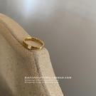 情侶戒指 別樣K51小眾簡約時尚愛心鋯石氣質百搭不掉色金色鈦鋼情侶戒指