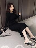 長袖洋裝2020秋季新款韓版高腰長袖打底裙女黑色顯瘦連身裙閃閃厭世風長裙 春季特賣