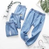 童裝褲子女童春裝款薄款夏季防蚊褲男童天絲牛仔褲兒童褲 ◣歐韓時代◥
