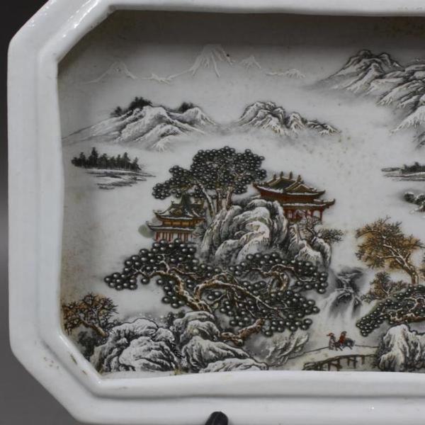 民國淺降彩蓬萊山水茶盤仿古瓷器博古架家居擺件收藏老貨古董古玩1入