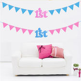 【BlueCat】彩色不織布滿月1 ST滿周歲 一歲生日 慶祝寶寶三角旗派對旗幟 擺飾
