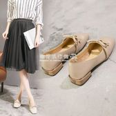 粗跟高跟鞋  秋季韓版女鞋淺口瑪麗珍鞋方頭仙女的鞋中跟奶奶單鞋粗跟  『歐韓流行館』