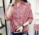 EASON SHOP(GU0937)格子格紋前短後長小V領長袖襯衫寬鬆顯瘦不規則女韓版潮學生七分袖上衣