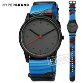 HyperGrand  / NW01TIDL / Holiday 新加坡品牌 塗鴉藝術 極簡面板 尼龍手錶 灰x黑框x藍 38mm