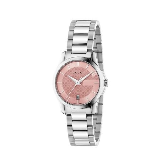 GUCCI G-TIMELESS摩登都會時尚設計石英女腕錶(粉紅色/12654)