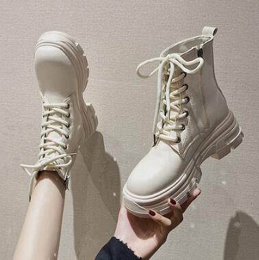靴子 馬丁靴女潮ins酷2021秋季新款厚底中筒靴瘦瘦靴白色增高短靴女鞋【快速出貨八折搶購】