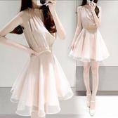 洋裝 高雅立領無袖蕾絲腰連身裙 巴黎春天