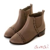 amai雷射花邊彈性伸縮木紋粗跟短靴 灰
