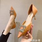 單鞋女2021新款高跟鞋細跟網紅法式少女尖頭淺口水鑚中空女鞋涼鞋 璐璐