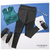 Catworld 不規則拼接網紗彈力運動褲【12002007】‧S/M/L